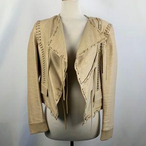 Salvatore Ferragamo Tan Leather Whip Stitch Jacket